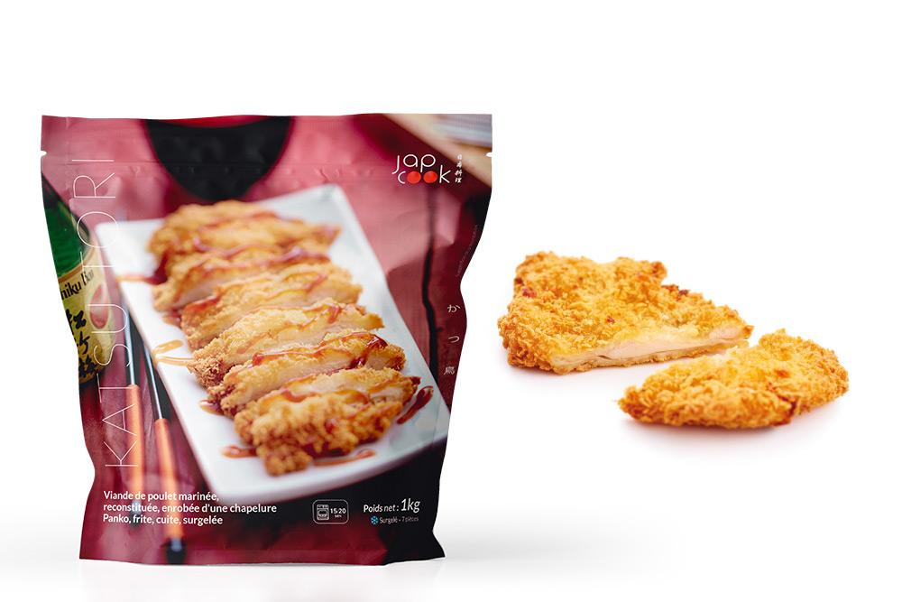 TORIKATSU, Viande de cuisse de poulet enrobée d'une chapelure panko, cuite et frite